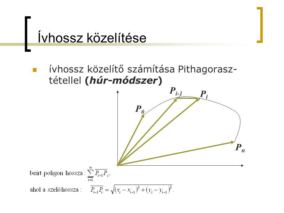 Ívhossz közelítése ívhossz közelítő számítása Pithagorasz- tétellel (húr-módszer) P i-1 PiPi P0P0 PnPn
