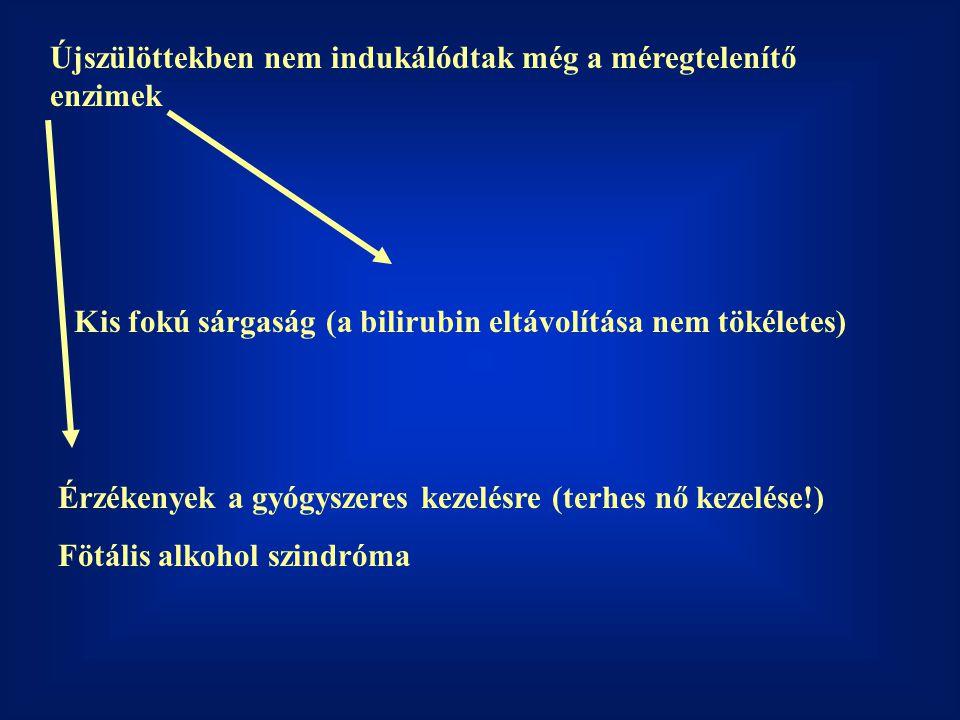Újszülöttekben nem indukálódtak még a méregtelenítő enzimek Kis fokú sárgaság (a bilirubin eltávolítása nem tökéletes) Érzékenyek a gyógyszeres kezelésre (terhes nő kezelése!) Fötális alkohol szindróma