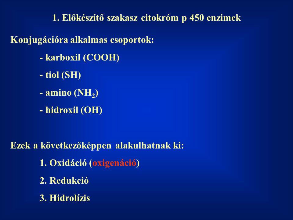 1. Előkészítő szakasz citokróm p 450 enzimek Konjugációra alkalmas csoportok: - karboxil (COOH) - tiol (SH) - amino (NH 2 ) - hidroxil (OH) Ezek a köv