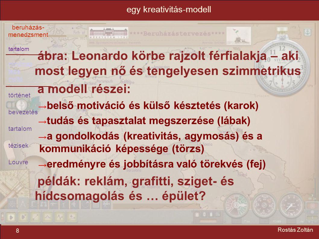 tartalom mindmap tézis mottó történet bevezetés tartalom tézisek Louvre beruházás- menedzsment 8 Rostás Zoltán egy kreativitás-modell ábra: Leonardo k