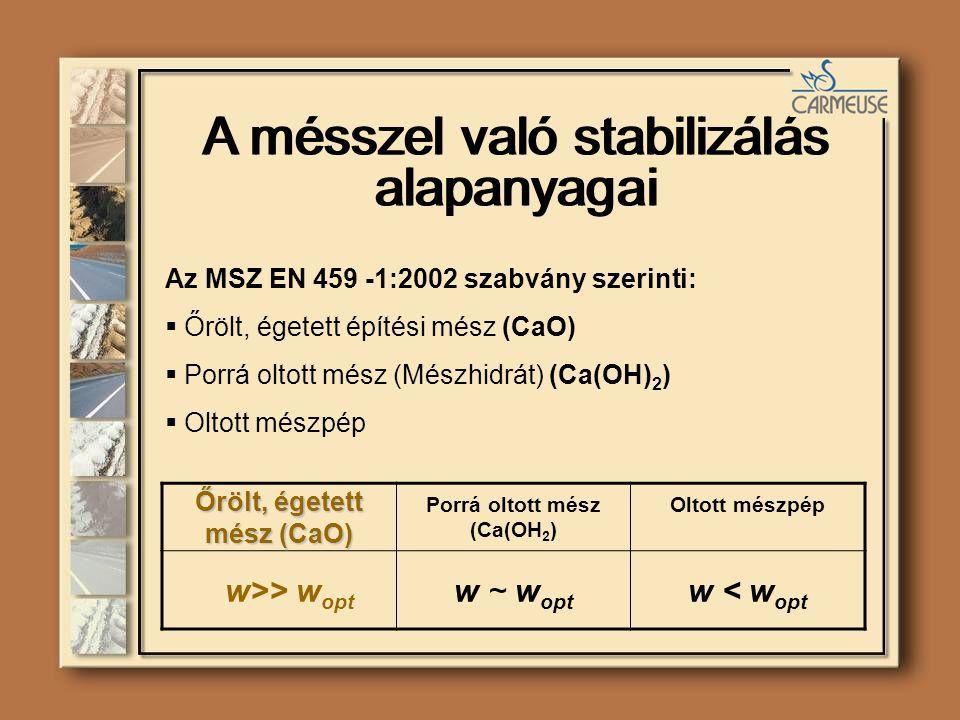 Őrölt, égetett mész (CaO) Porrá oltott mész (Ca(OH 2 ) Oltott mészpép w>> w opt w ~ w opt w < w opt Az MSZ EN 459 -1:2002 szabvány szerinti:  Őrölt, égetett építési mész (CaO)  Porrá oltott mész (Mészhidrát) (Ca(OH) 2 )  Oltott mészpép A mésszel való stabilizálás alapanyagai