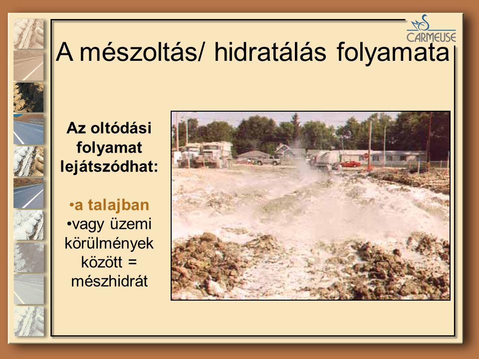 A mészoltás/ hidratálás folyamata Az oltódási folyamat lejátszódhat: a talajban vagy üzemi körülmények között = mészhidrát