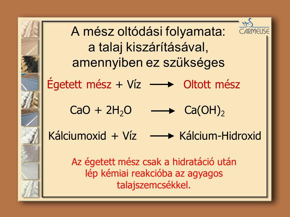 A mész oltódási folyamata: a talaj kiszárításával, amennyiben ez szükséges Égetett mész + Víz Oltott mész CaO + 2H 2 O Ca(OH) 2 Az égetett mész csak a hidratáció után lép kémiai reakcióba az agyagos talajszemcsékkel.
