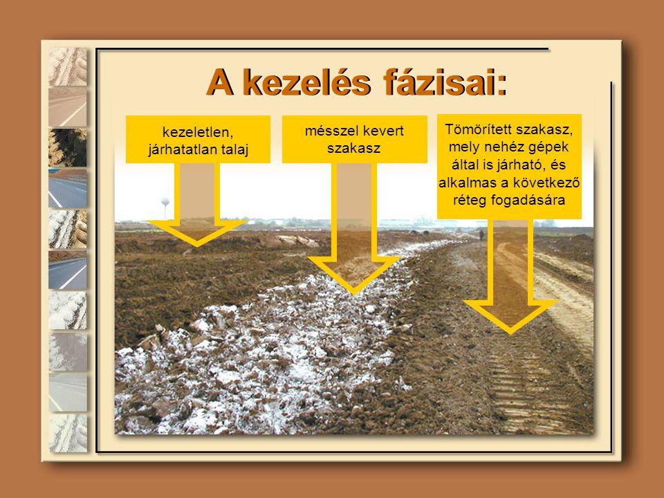 A kezelés fázisai: kezeletlen, járhatatlan talaj mésszel kevert szakasz Tömörített szakasz, mely nehéz gépek által is járható, és alkalmas a következő