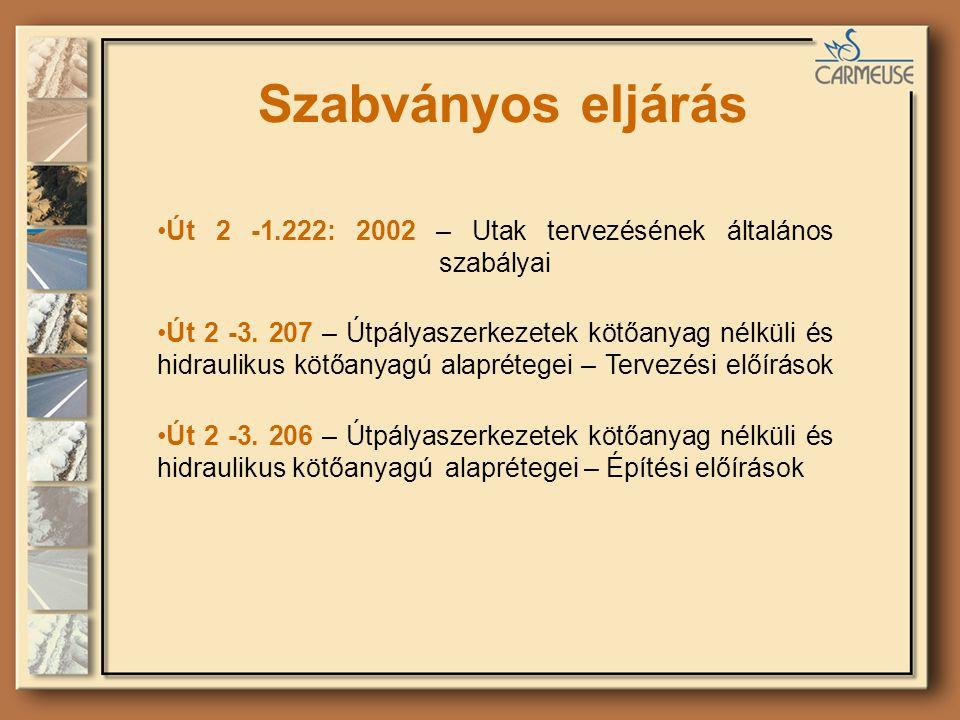 Szabványos eljárás Út 2 -1.222: 2002 – Utak tervezésének általános szabályai Út 2 -3. 207 – Útpályaszerkezetek kötőanyag nélküli és hidraulikus kötőan