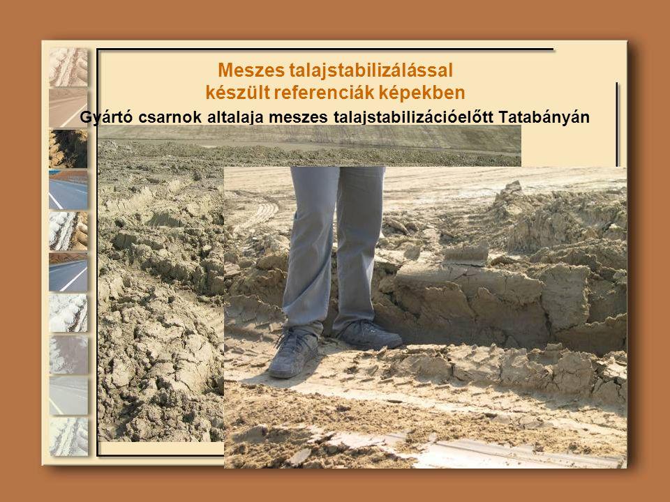 Meszes talajstabilizálással készült referenciák képekben Gyártó csarnok altalaja meszes talajstabilizációelőtt Tatabányán