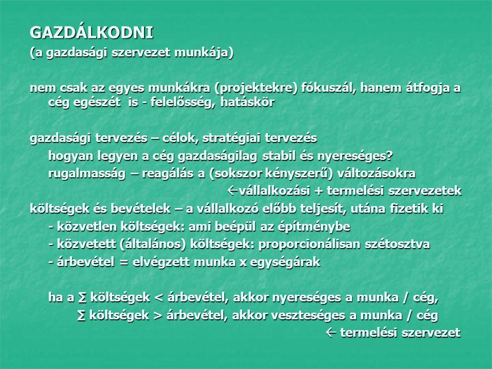 GAZDÁLKODNI (a gazdasági szervezet munkája) nem csak az egyes munkákra (projektekre) fókuszál, hanem átfogja a cég egészét is - felelősség, hatáskör  gazdasági tervezés – célok, stratégiai tervezés hogyan legyen a cég gazdaságilag stabil és nyereséges.