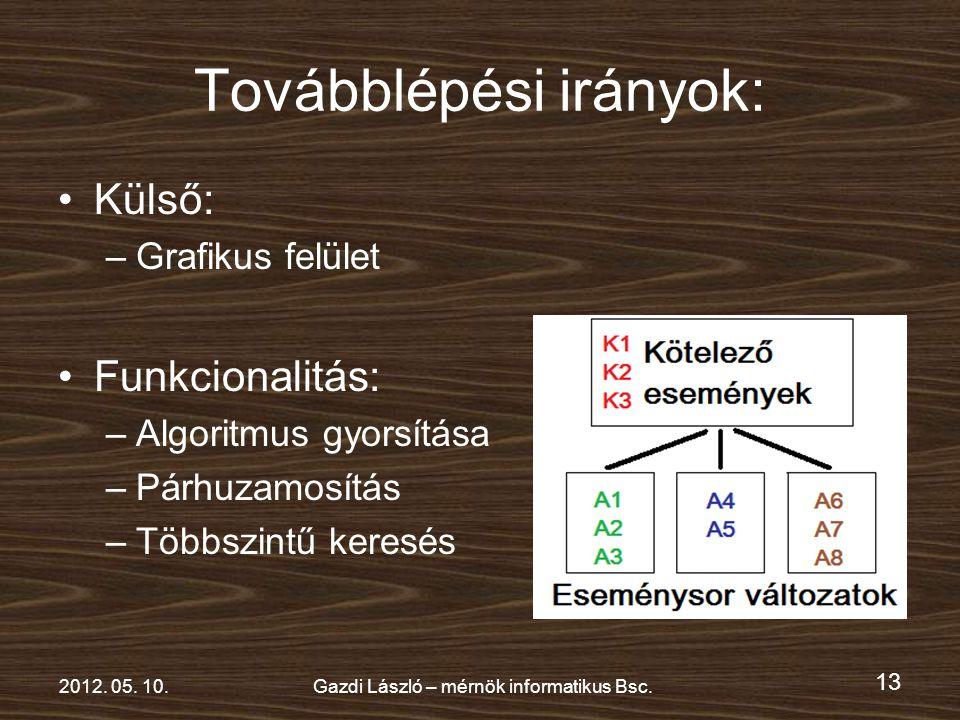 13 2012. 05. 10.Gazdi László – mérnök informatikus Bsc.