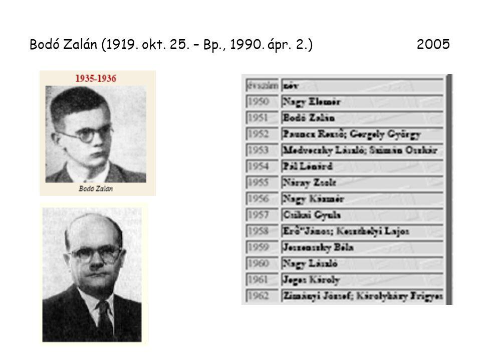 Bodó Zalán (1919. okt. 25. – Bp., 1990. ápr. 2.) 2005