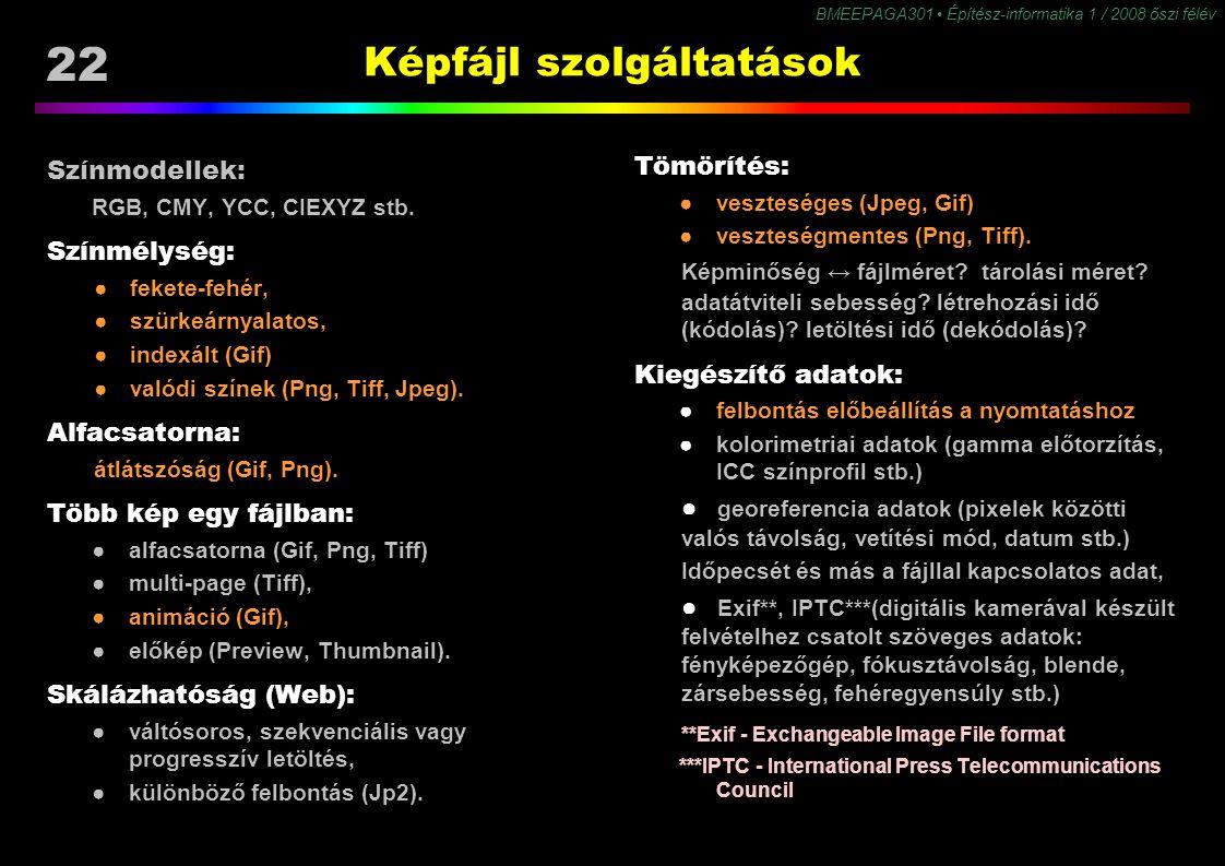 22 BMEEPAGA301 Építész-informatika 1 / 2008 őszi félév Képfájl szolgáltatások Tömörítés: ●veszteséges (Jpeg, Gif) ●veszteségmentes (Png, Tiff). Képmin
