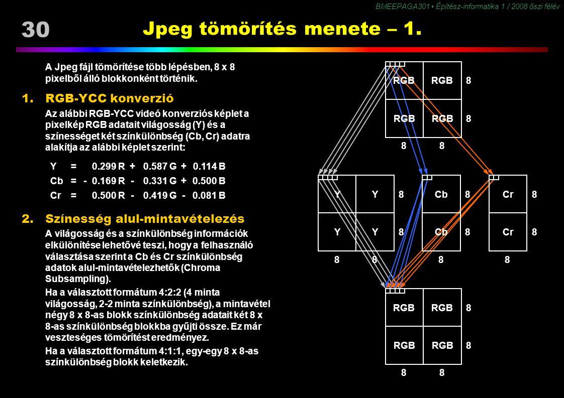 30 BMEEPAGA301 Építész-informatika 1 / 2008 őszi félév Jpeg tömörítés menete – 1. A Jpeg fájl tömörítése több lépésben, 8 x 8 pixelből álló blokkonkén