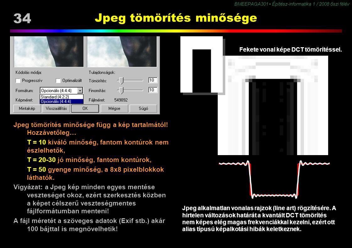 34 BMEEPAGA301 Építész-informatika 1 / 2008 őszi félév Jpeg tömörítés minősége Jpeg tömörítés minősége függ a kép tartalmától! Hozzávetőleg… T = 10 ki