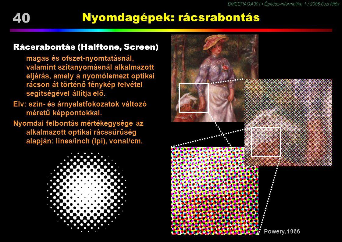 40 BMEEPAGA301 Építész-informatika 1 / 2008 őszi félév Nyomdagépek: rácsrabontás Rácsrabontás (Halftone, Screen) magas és ofszet-nyomtatásnál, valamin