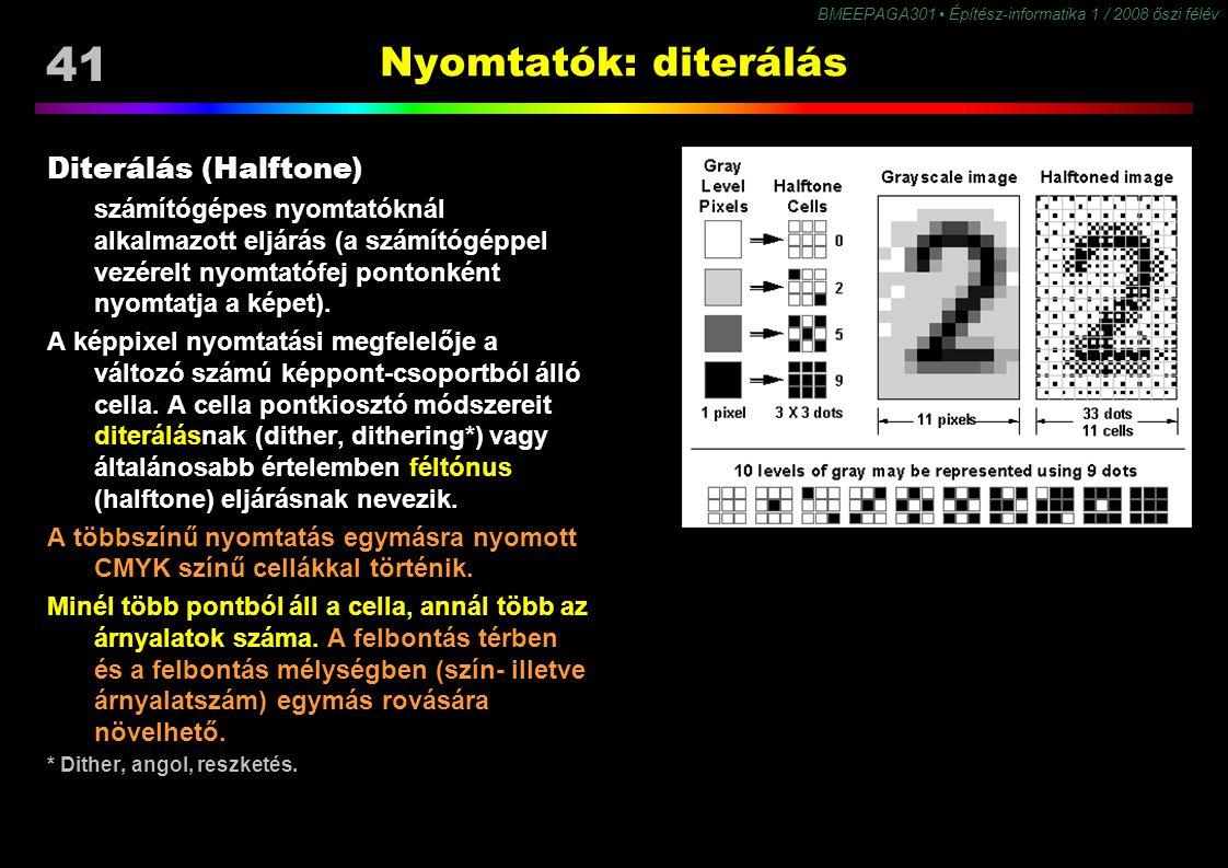 41 BMEEPAGA301 Építész-informatika 1 / 2008 őszi félév Nyomtatók: diterálás Diterálás (Halftone) számítógépes nyomtatóknál alkalmazott eljárás (a szám