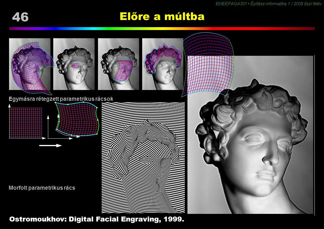 46 BMEEPAGA301 Építész-informatika 1 / 2008 őszi félév Előre a múltba Ostromoukhov: Digital Facial Engraving, 1999. Morfolt parametrikus rács Egymásra
