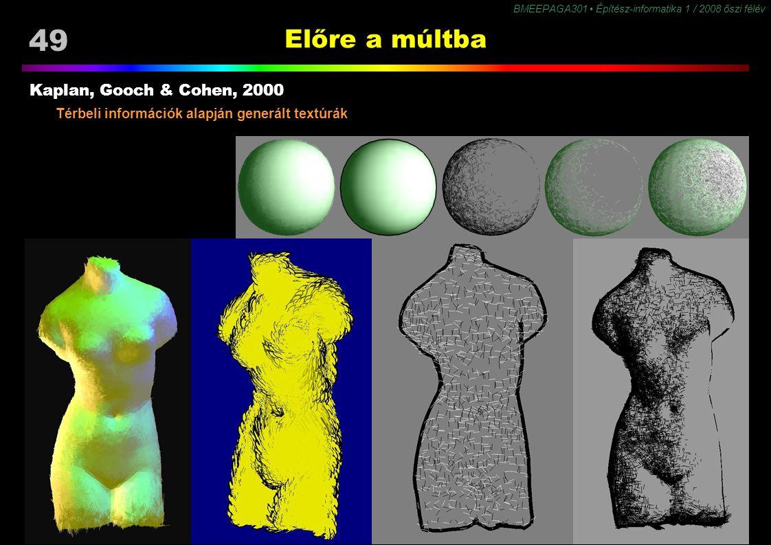 49 BMEEPAGA301 Építész-informatika 1 / 2008 őszi félév Előre a múltba Kaplan, Gooch & Cohen, 2000 Térbeli információk alapján generált textúrák