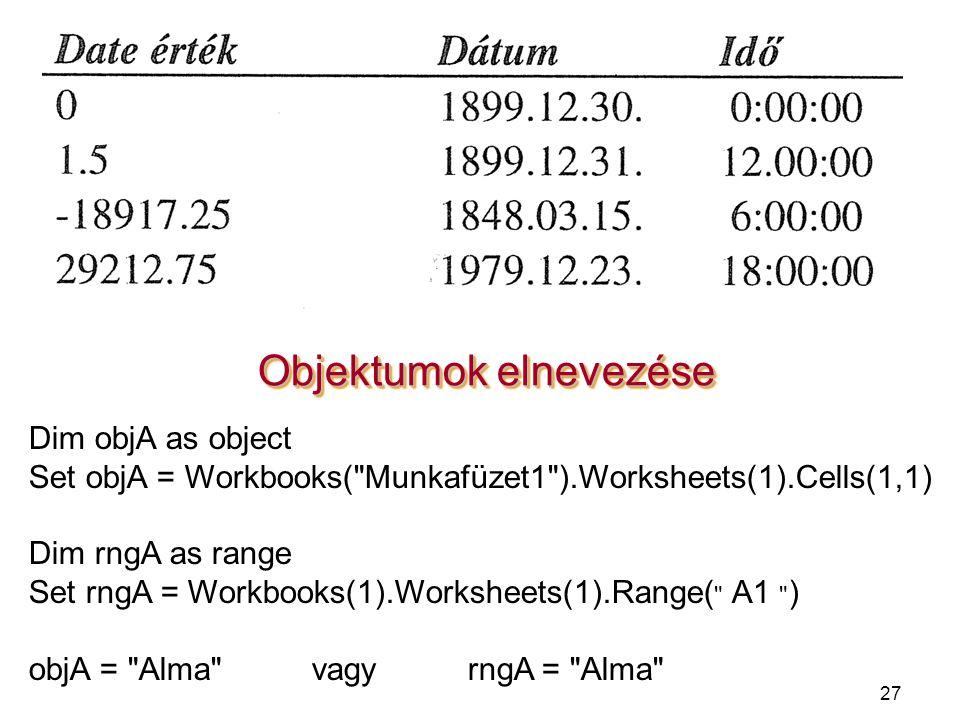 27 Objektumok elnevezése Dim objA as object Set objA = Workbooks(