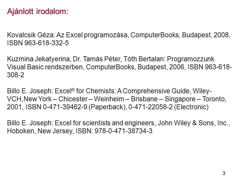 3 Ajánlott irodalom: Kovalcsik Géza: Az Excel programozása, ComputerBooks, Budapest, 2008, ISBN 963-618-332-5 Kuzmina Jekatyerina, Dr. Tamás Péter, Tó