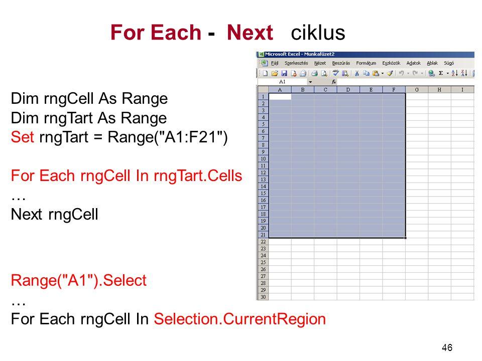 46 For Each - Next ciklus Dim rngCell As Range Dim rngTart As Range Set rngTart = Range(