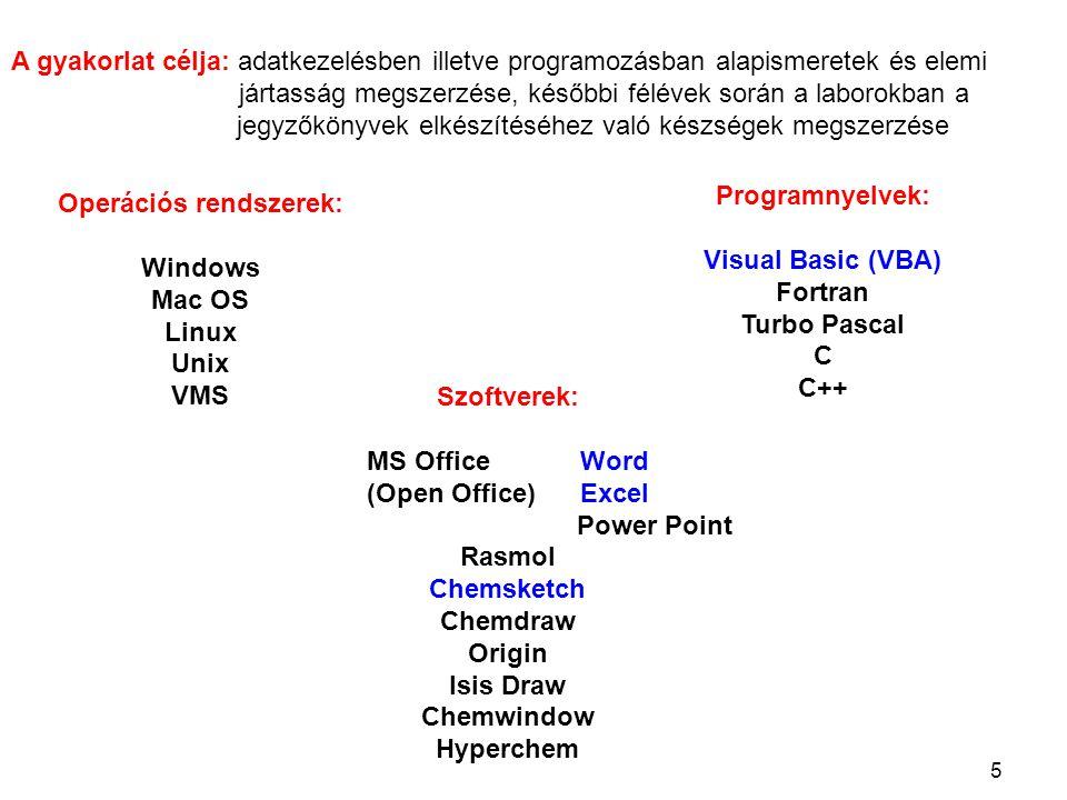 5 Operációs rendszerek: Windows Mac OS Linux Unix VMS Programnyelvek: Visual Basic (VBA) Fortran Turbo Pascal C C++ Szoftverek: MS OfficeWord (Open Of