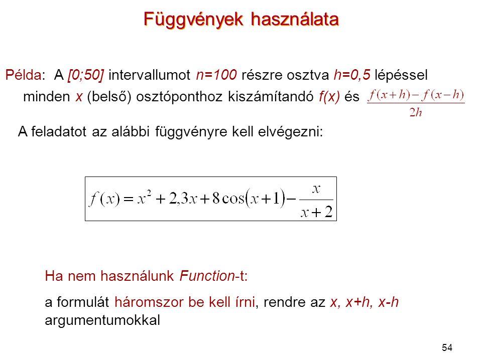54 Függvények használata Példa: A [0;50] intervallumot n=100 részre osztva h=0,5 lépéssel minden x (belső) osztóponthoz kiszámítandó f(x) és Ha nem ha