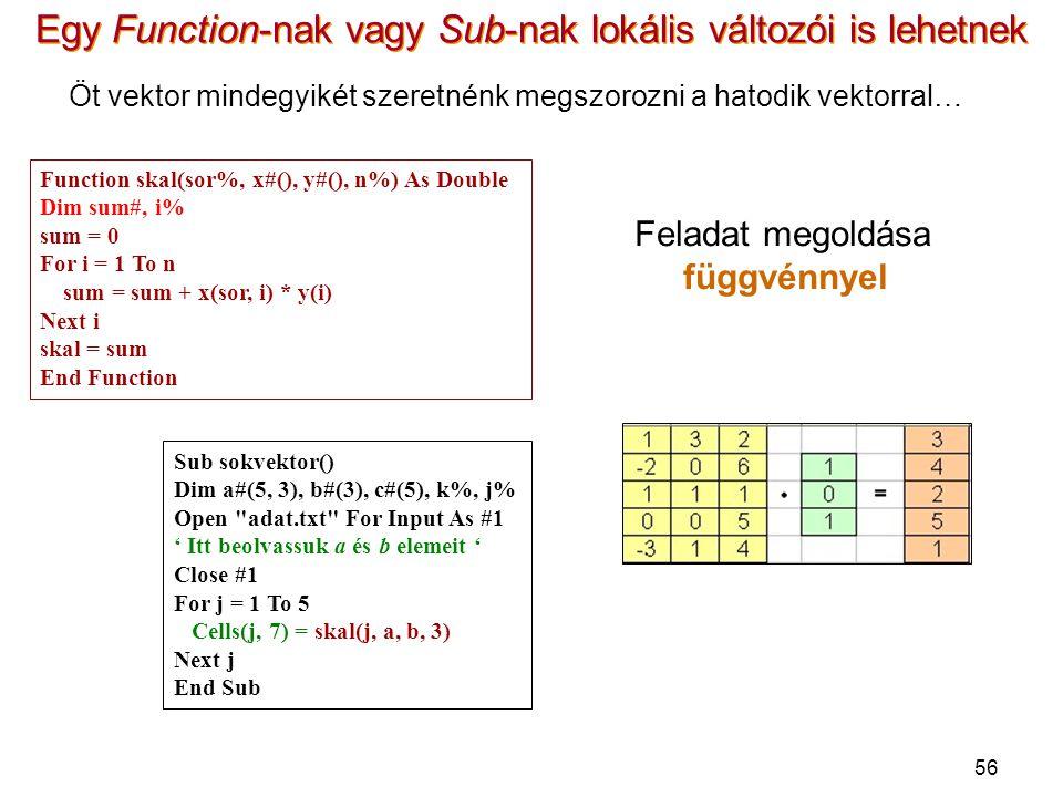 56 Egy Function-nak vagy Sub-nak lokális változói is lehetnek Öt vektor mindegyikét szeretnénk megszorozni a hatodik vektorral… Sub sokvektor() Dim a#