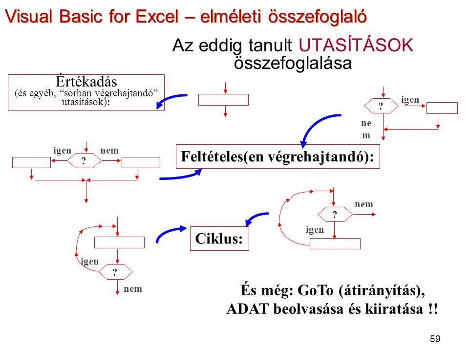 59 Az eddig tanult UTASÍTÁSOK összefoglalása Feltételes(en végrehajtandó): Ciklus: És még: GoTo (átirányítás), ADAT beolvasása és kiiratása !! ? nemne