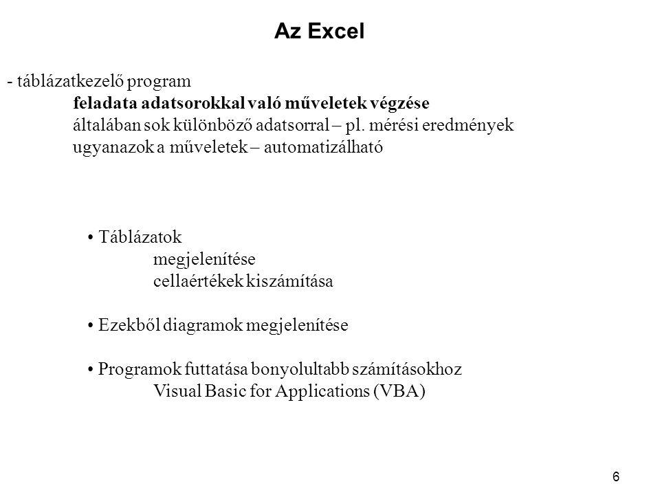 6 Az Excel - táblázatkezelő program feladata adatsorokkal való műveletek végzése általában sok különböző adatsorral – pl. mérési eredmények ugyanazok