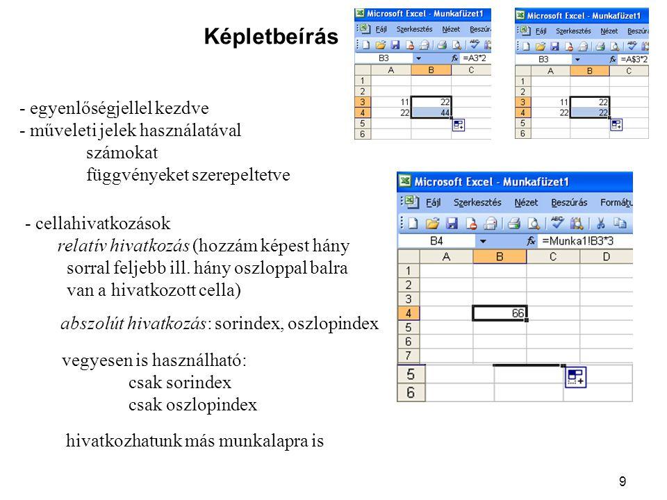 9 Képletbeírás - egyenlőségjellel kezdve - műveleti jelek használatával számokat függvényeket szerepeltetve - cellahivatkozások relatív hivatkozás (ho