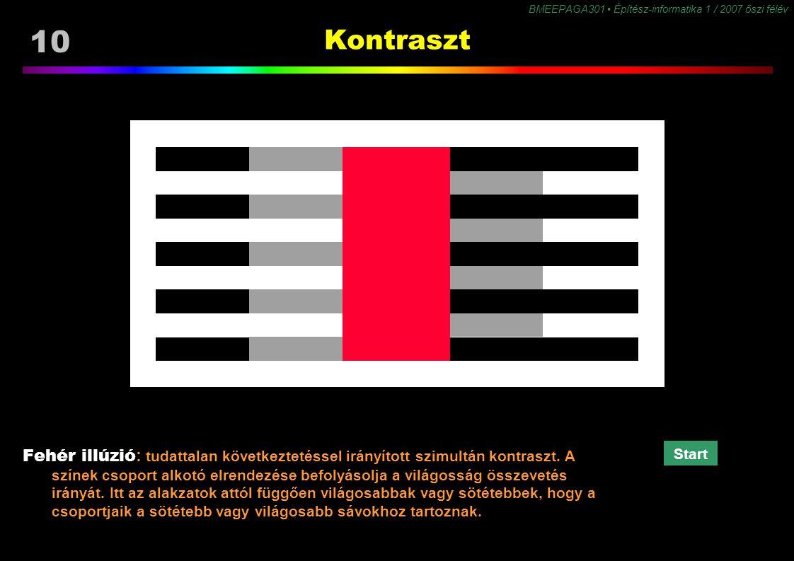 BMEEPAGA301 Építész-informatika 1 / 2007 őszi félév 10 Kontraszt Fehér illúzió: tudattalan következtetéssel irányított szimultán kontraszt. A színek c