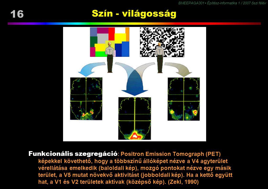 BMEEPAGA301 Építész-informatika 1 / 2007 őszi félév 16 Szín - világosság Funkcionális szegregáció : Positron Emission Tomograph (PET) képekkel követhe