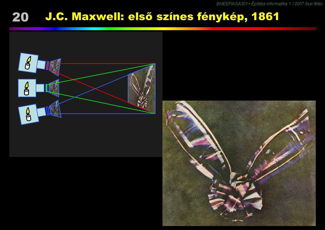 BMEEPAGA301 Építész-informatika 1 / 2007 őszi félév 20 J.C. Maxwell: első színes fénykép, 1861