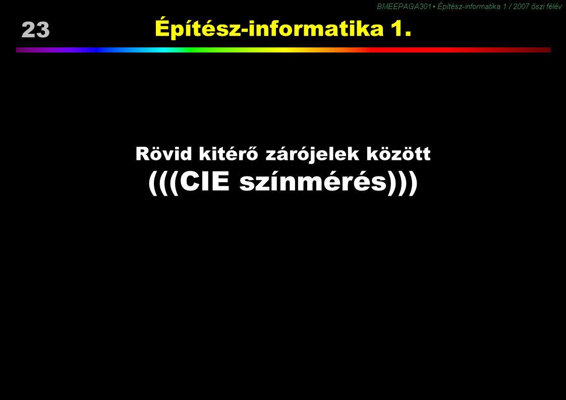 BMEEPAGA301 Építész-informatika 1 / 2007 őszi félév 23 Építész-informatika 1. Rövid kitérő zárójelek között (((CIE színmérés)))