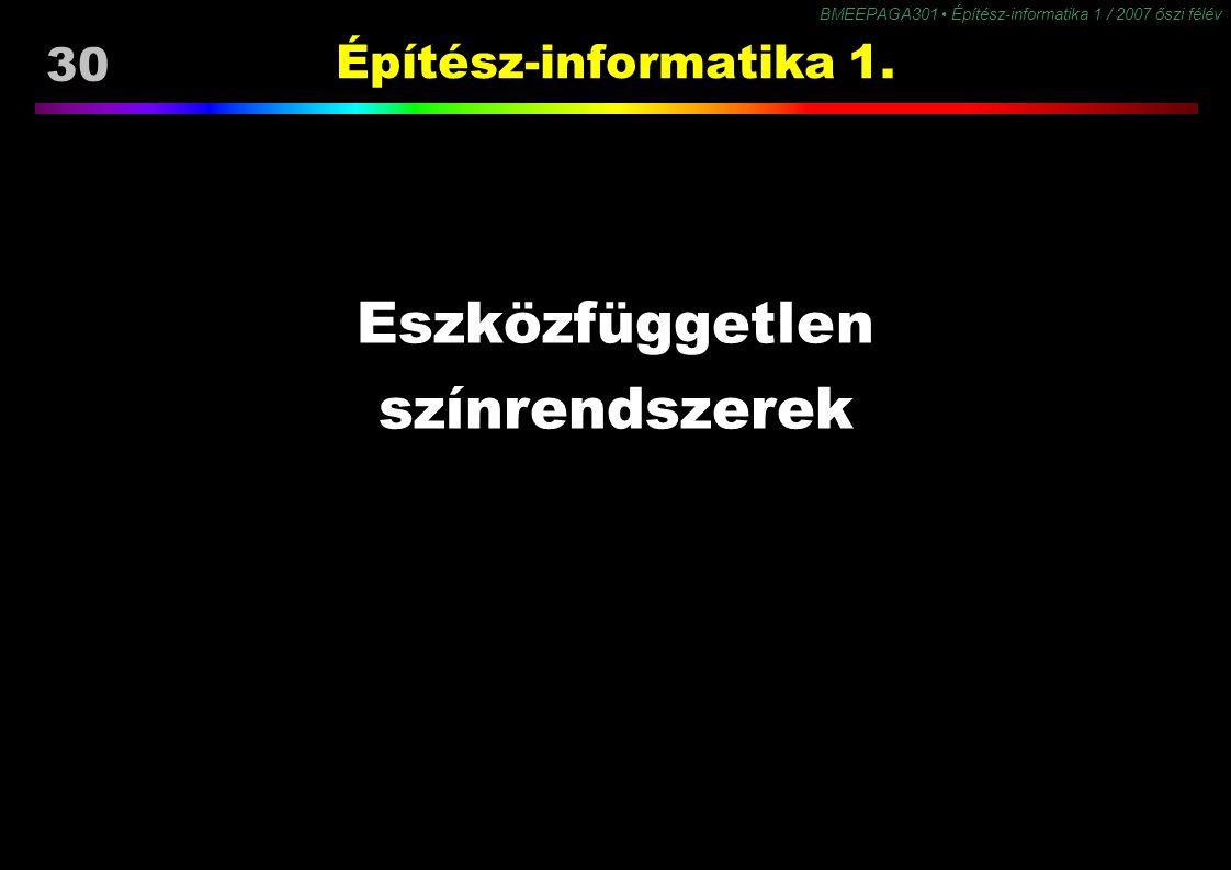 BMEEPAGA301 Építész-informatika 1 / 2007 őszi félév 30 Építész-informatika 1. Eszközfüggetlen színrendszerek