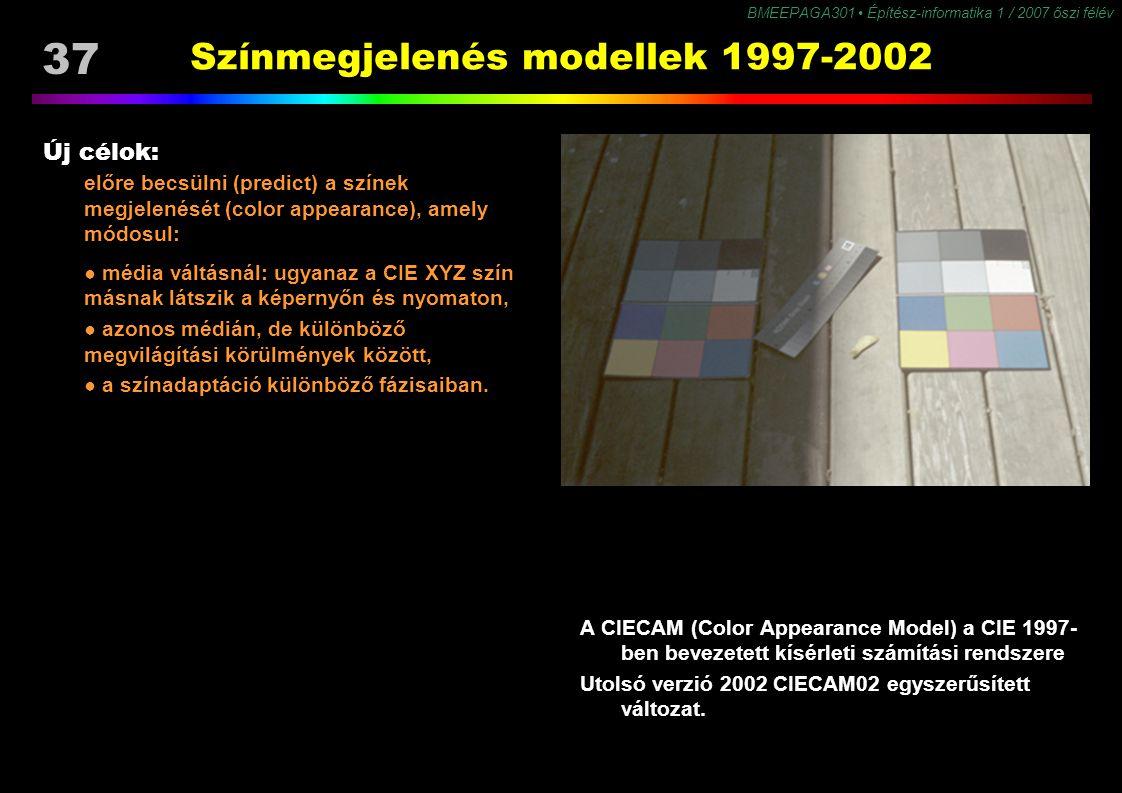 BMEEPAGA301 Építész-informatika 1 / 2007 őszi félév 37 Színmegjelenés modellek 1997-2002 Új célok: előre becsülni (predict) a színek megjelenését (col