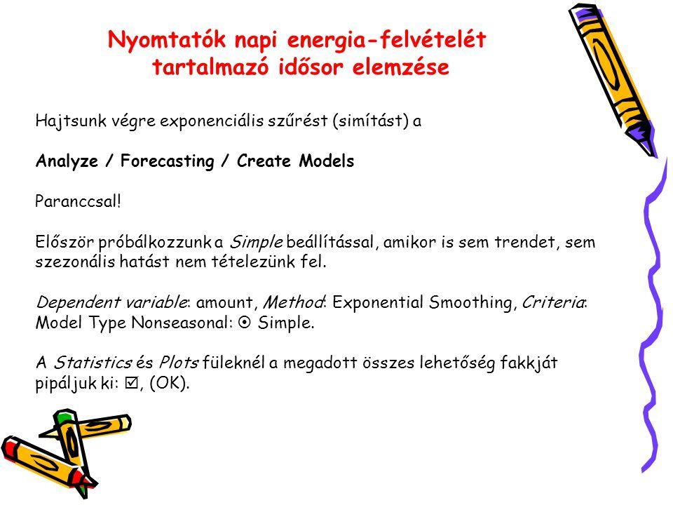 Nyomtatók napi energia-felvételét tartalmazó idősor elemzése Hajtsunk végre exponenciális szűrést (simítást) a Analyze / Forecasting / Create Models Paranccsal.