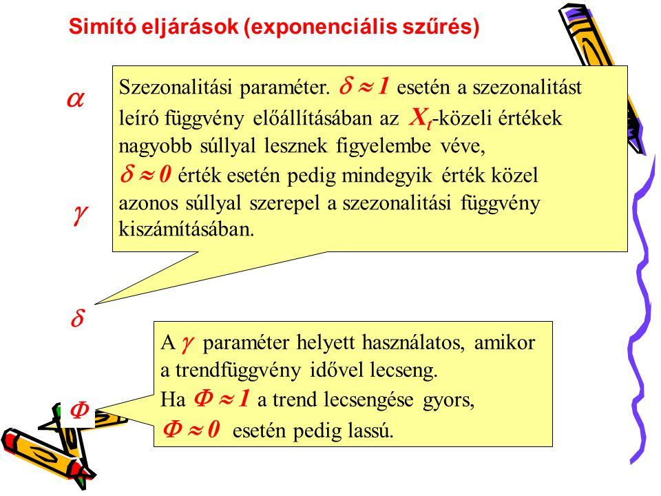     Szezonalitási paraméter.   1 esetén a szezonalitást leíró függvény előállításában az X t -közeli értékek nagyobb súllyal lesznek figyelembe