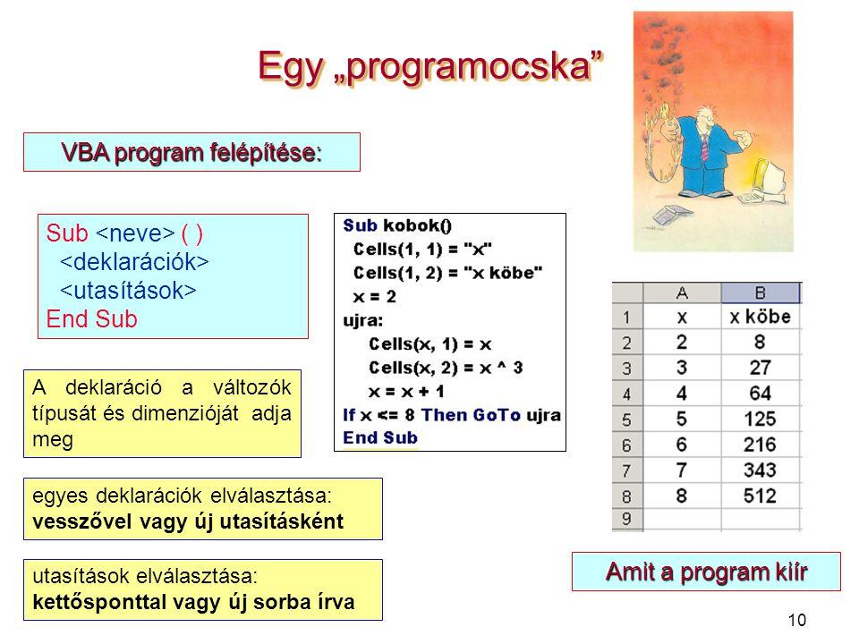 """10 Egy """"programocska"""" Sub ( ) End Sub VBA program felépítése: Amit a program kiír A deklaráció a változók típusát és dimenzióját adja meg egyes deklar"""