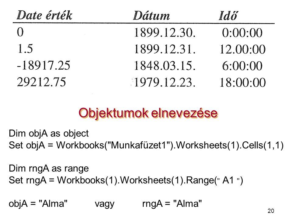 20 Objektumok elnevezése Dim objA as object Set objA = Workbooks(