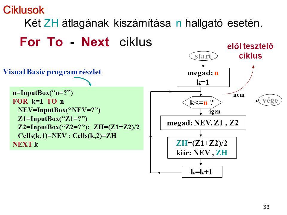"""38 For To - Next ciklus elől tesztelő ciklus n=InputBox(""""n=?"""") FOR k=1 TO n NEV=InputBox(""""NEV=?"""") Z1=InputBox(""""Z1=?"""") Z2=InputBox(""""Z2=?""""): ZH=(Z1+Z2)/"""