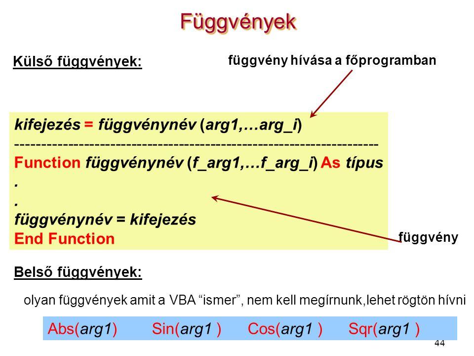 44 FüggvényekFüggvények kifejezés = függvénynév (arg1,…arg_i) --------------------------------------------------------------------- Function függvényn