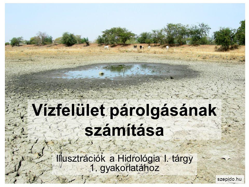 Vízfelület párolgásának számítása Illusztrációk a Hidrológia I. tárgy 1. gyakorlatához szepido.hu
