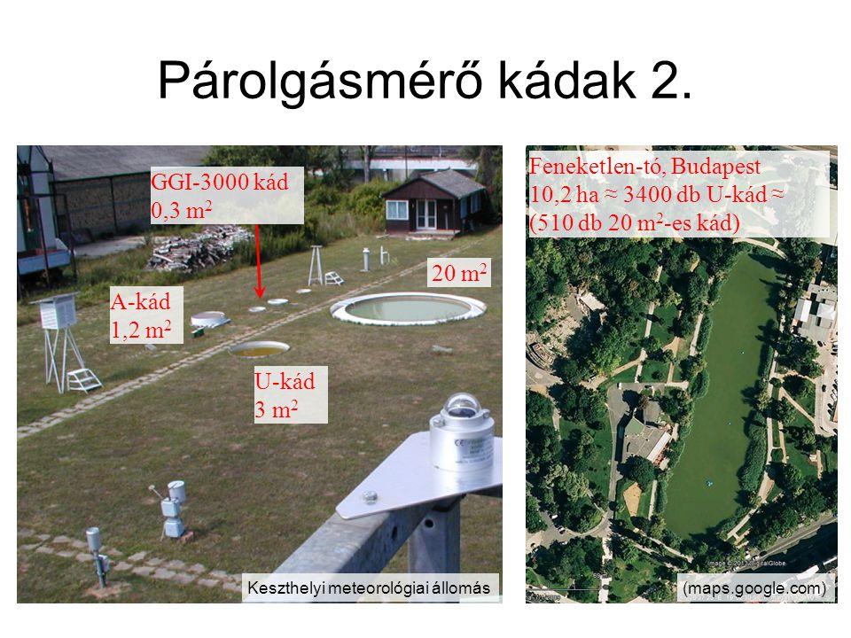 Párolgásmérő kádak 2. 20 m 2 U-kád 3 m 2 A-kád 1,2 m 2 GGI-3000 kád 0,3 m 2 Feneketlen-tó, Budapest 10,2 ha ≈ 3400 db U-kád ≈ (510 db 20 m 2 -es kád)