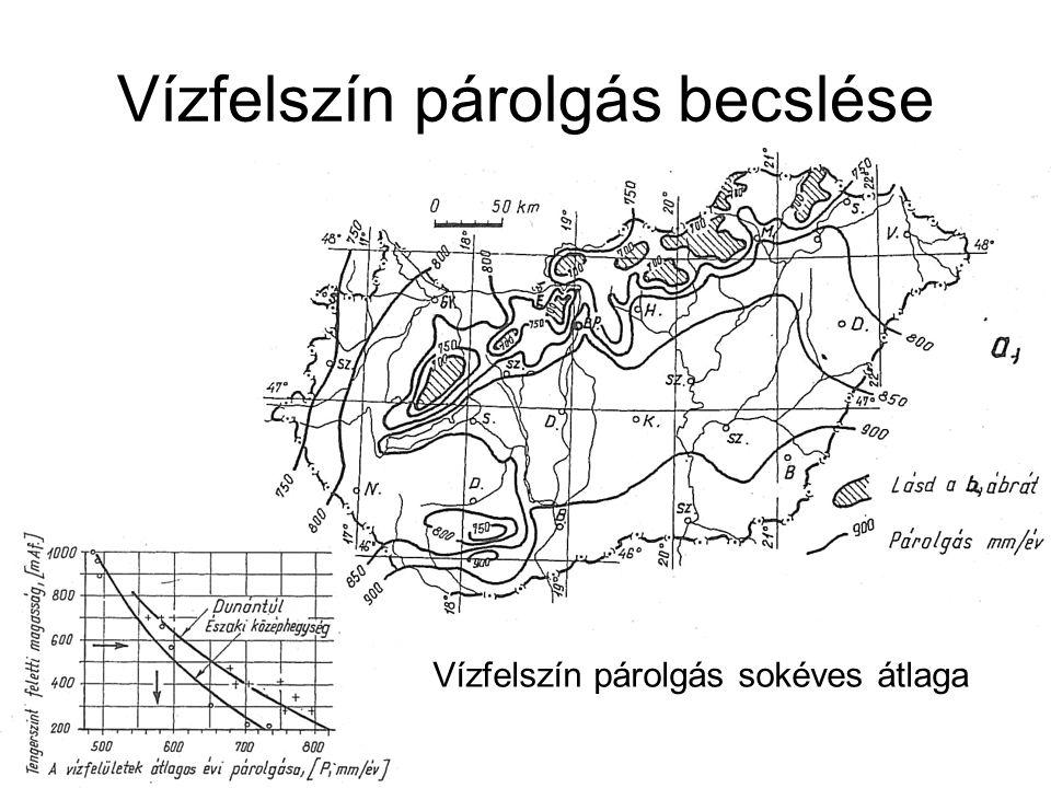 Vízfelszín párolgás becslése Vízfelszín párolgás sokéves átlaga