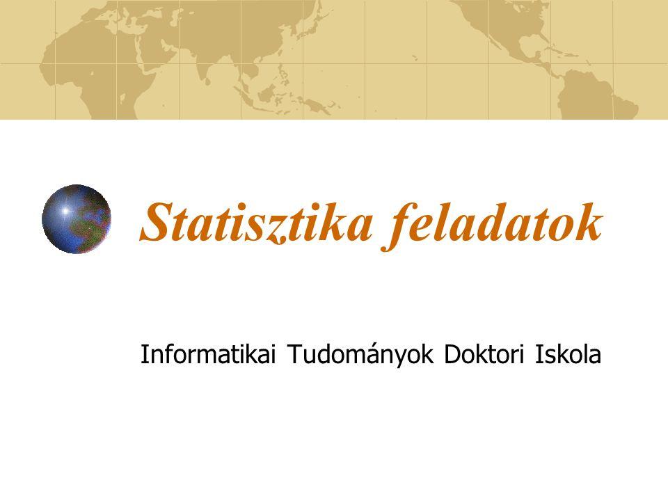 Statisztika feladatok Informatikai Tudományok Doktori Iskola