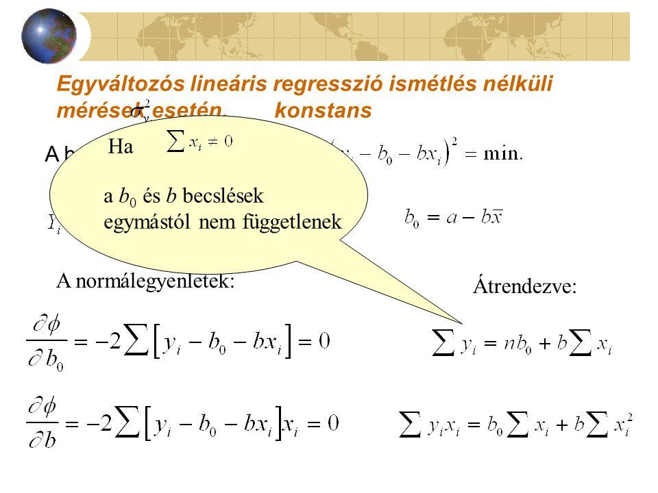 Egyváltozós lineáris regresszió ismétlés nélküli mérések esetén,   konstans A becslési kritérium: A normálegyenletek: Átrendezve: Ha a b 0 és b becslések egymástól nem függetlenek