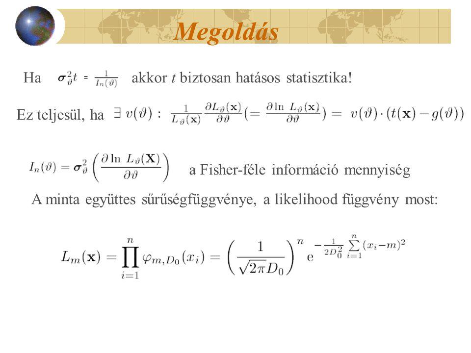 Megoldás Ha akkor t biztosan hatásos statisztika! a Fisher-féle információ mennyiség Ez teljesül, ha A minta együttes sűrűségfüggvénye, a likelihood f