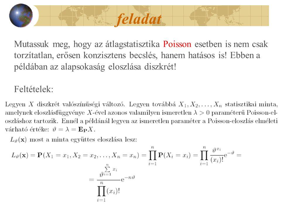 feladat Mutassuk meg, hogy az átlagstatisztika Poisson esetben is nem csak torzítatlan, erősen konzisztens becslés, hanem hatásos is! Ebben a példában