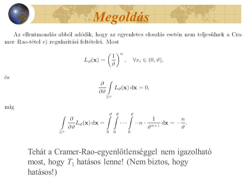Megoldás Tehát a Cramer-Rao-egyenlőtlenséggel nem igazolható most, hogy T 1 hatásos lenne! (Nem biztos, hogy hatásos!)