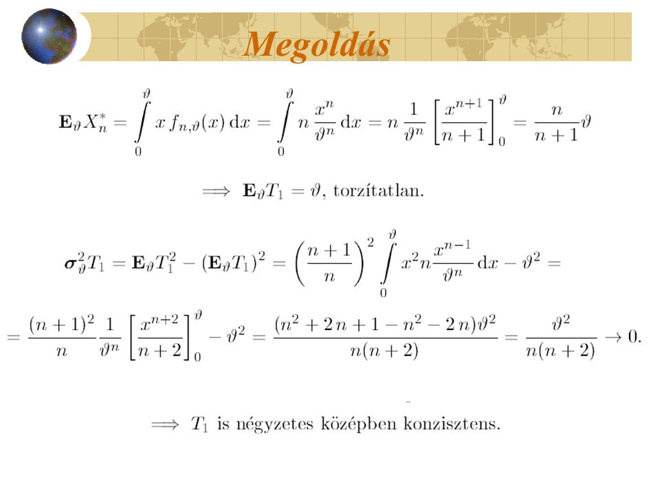 Megoldás A log-likelihood függvény most:
